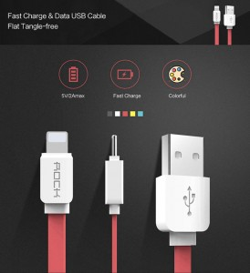 Kabel ROCK USB do iPhone 5S SE 6 7 8 X iPaD 100 cm RED